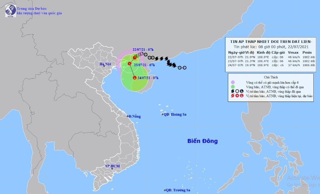 Áp thấp nhiệt đới cách Quảng Ninh 110km, miền Bắc mưa to nhiều nơi - 1