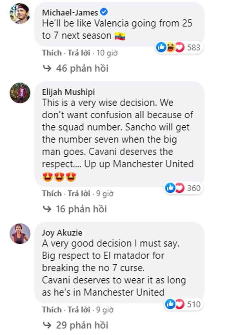 """Sancho không """"cướp"""" áo số 7 của Cavani, triệu fan MU khen cao thượng - 5"""