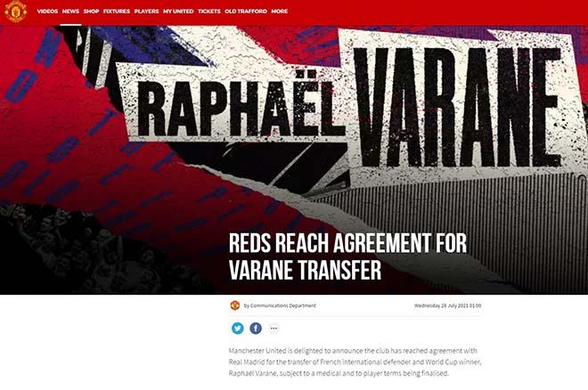 CHÍNH THỨC: MU đạt thỏa thuận mua Varane, chờ kiểm tra y tế - 1