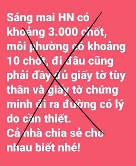 """Xử phạt người phụ nữ tung tin sai sự thật """"Hà Nội lập 3.000 chốt kiểm soát"""" - 1"""
