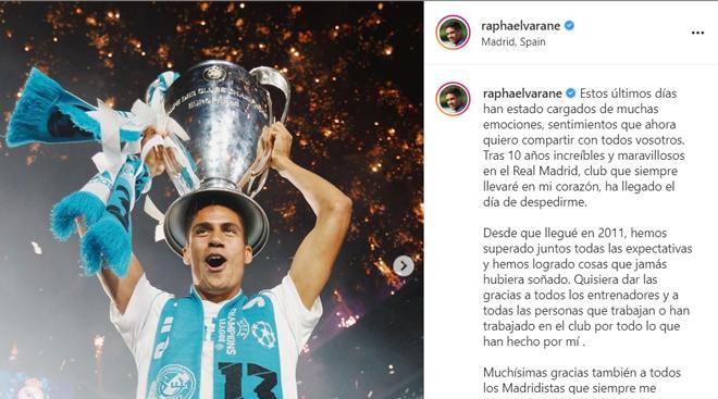 """""""Bom tấn"""" Varane viết tâm thư chia tay Real Madrid đến MU, nhận ngay """"bão like"""" - 3"""