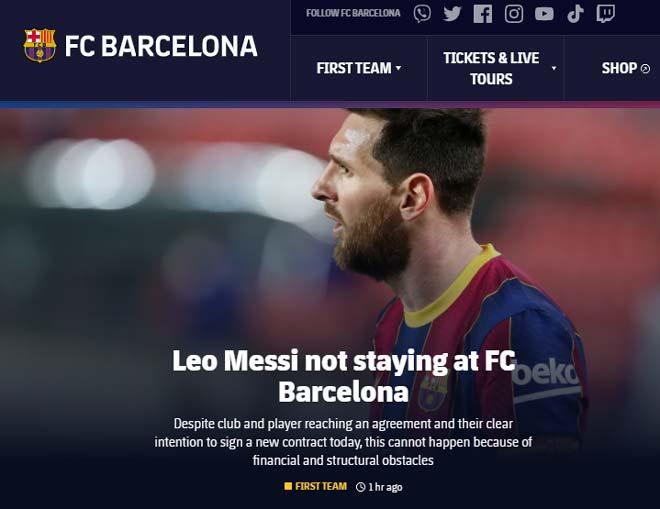 SỐC: Lionel Messi gia hạn bất thành, chính thức chia tay Barca - 1
