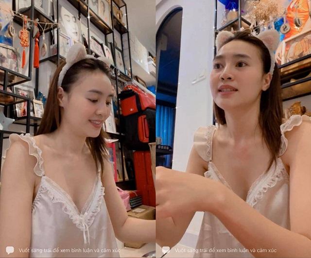 Ninh Dương Lan Ngọc diện váy ngủ lấp ló vòng 1 khiến fan thót tim - 1