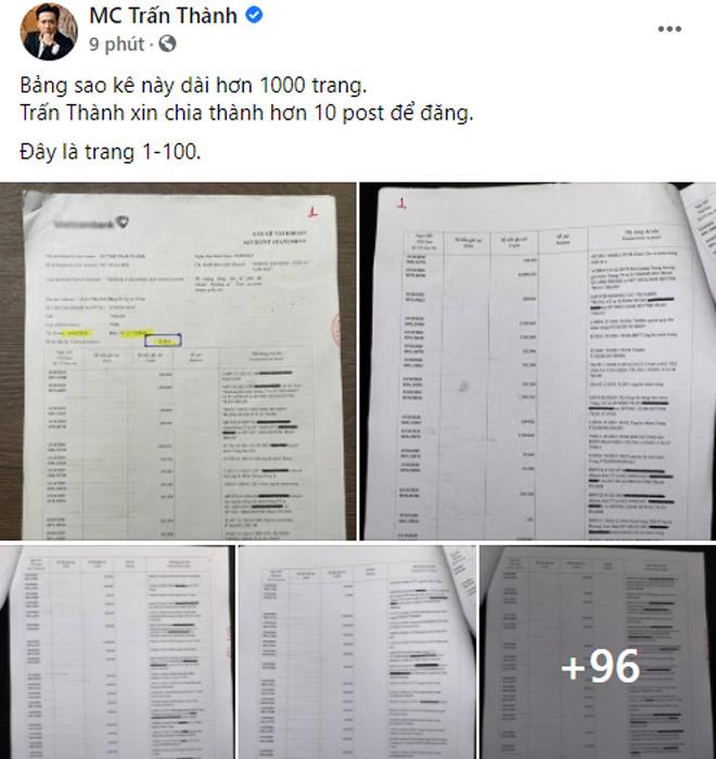 HOT: Trấn Thành bất ngờ công khai 100 trang đầu trong số 1.000 trang sao kê tiền từ thiện - 1