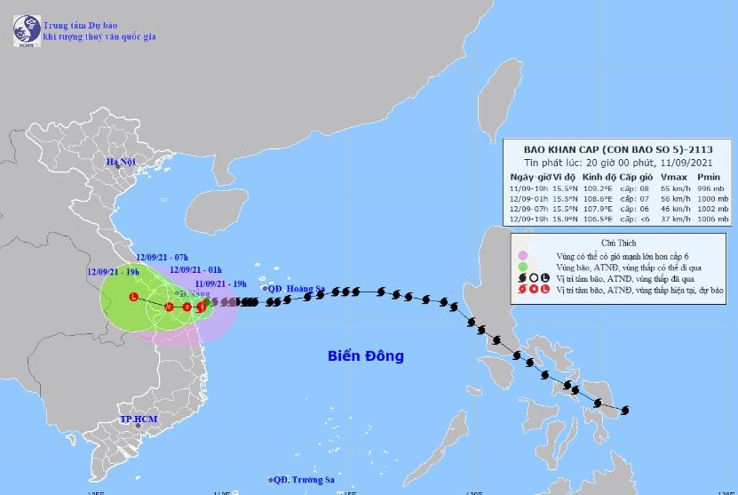 Bão Côn Sơn đang trên vùng biển Thừa Thiên Huế-Quảng Ngãi, mưa to, gió giật nhiều nơi - 1