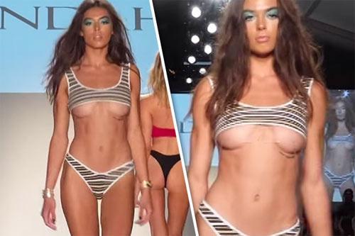 Khán giả thót tim vì người mẫu mặc bikini ngắn tới khó tin khi diễn - hình ảnh 1