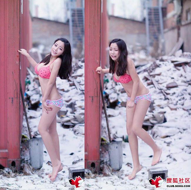 Con gái Trung Quốc mặc bikini giữa tuyết trắng gây hoang mang - hình ảnh 15
