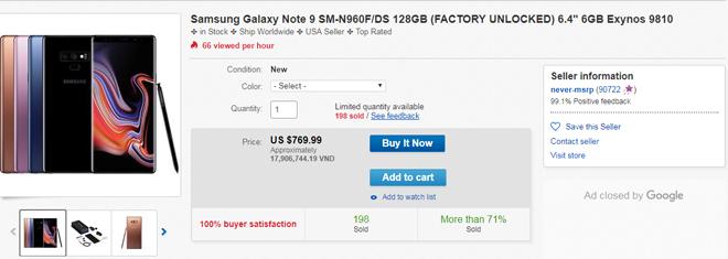Điện thoại iPhone Xs Max xuất kho không lâu, Galaxy Note 9 đã hạ lượng tiền mạnh