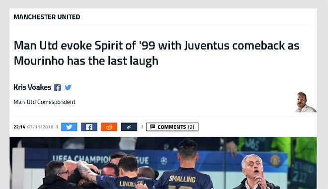 """MU ngược dòng khó tin hạ Juventus: Báo Anh tuyên dương """"tinh thần 1999"""" - 1"""
