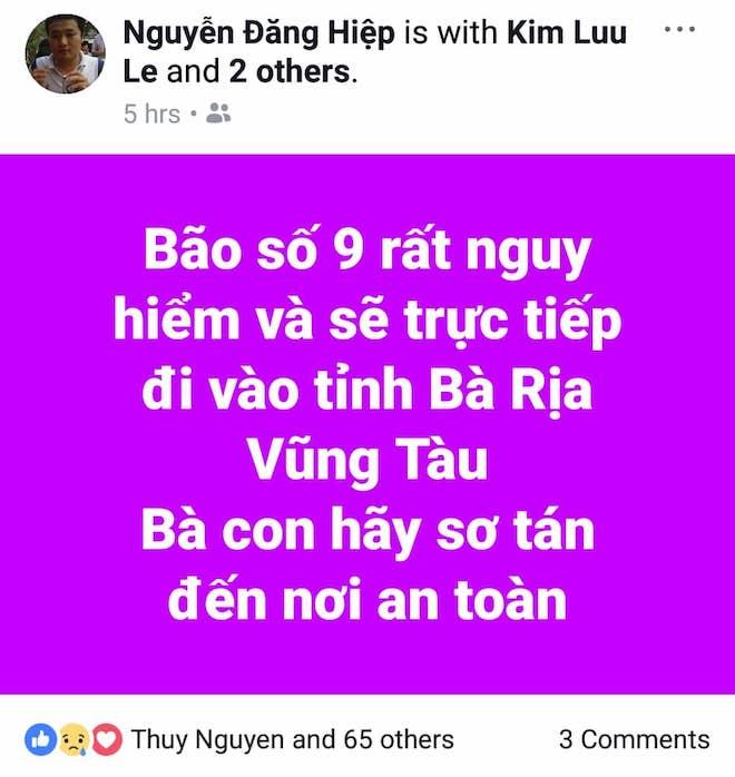 Dân mạng lo lắng trước cơn bão số 9 sắp đổ bộ Nam Bình Thuận tới Bến Tre - 2