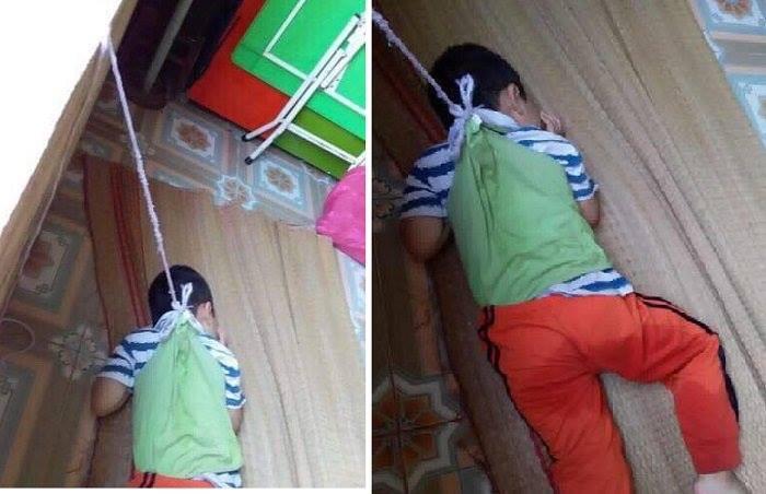 Xót xa hình ảnh bé trai 4 tuổi bị buộc dây vào cổ, nhốt trong lớp học - 2