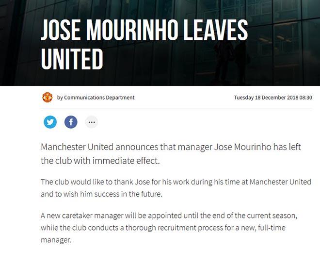 Chấn động: HLV Mourinho chính thức bị MU sa thải - 2