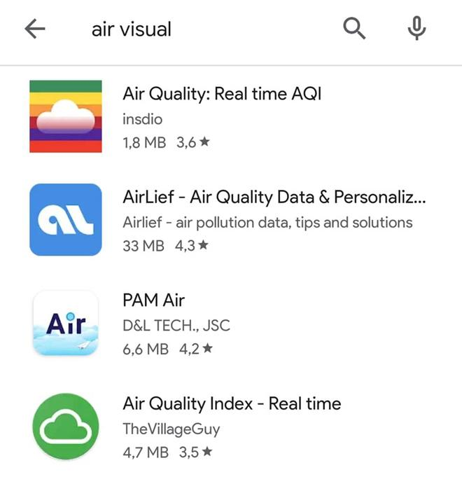 Ứng dụng AirVisual biến mất khỏi kho phần mềm của iOS lẫn Android