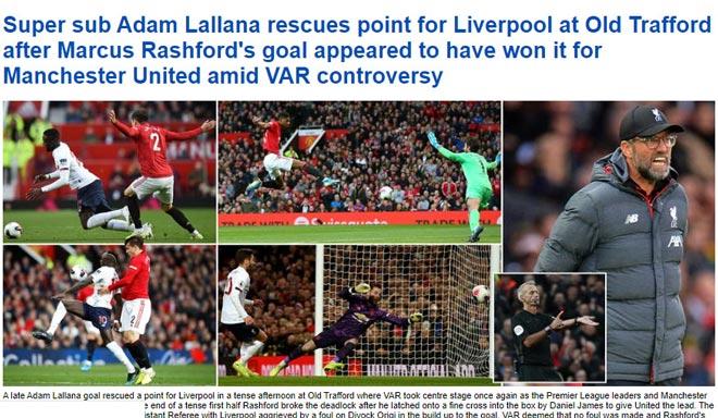 """Liverpool thoát thua trước MU: Báo chí tiếc cho """"Quỷ đỏ"""", ca ngợi Rashford - 1"""
