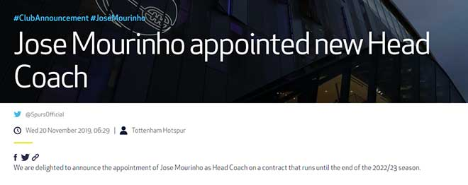 Tottenham CHÍNH THỨC bổ nhiệm Mourinho làm HLV trưởng, dẫn dắt luôn cuối tuần
