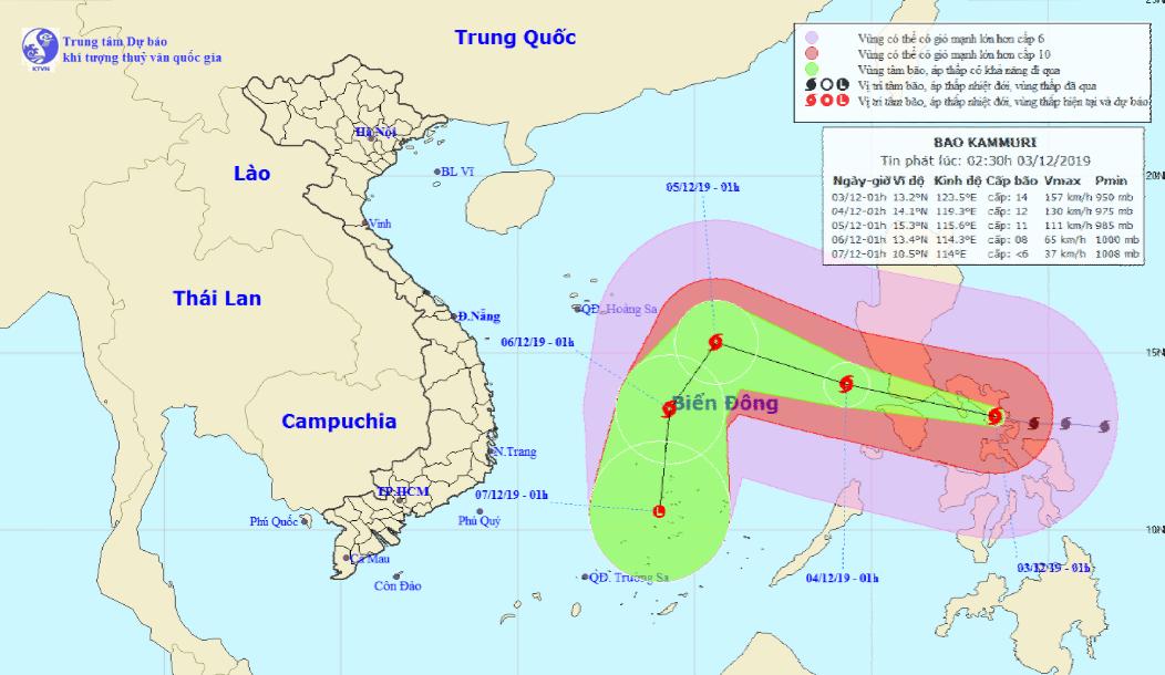 Bão Kammuri gió giật cấp 17 đang hướng vào Biển Đông