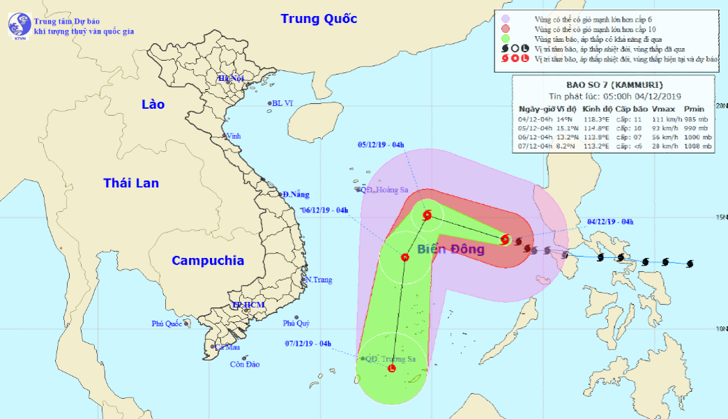 Tin mới nhất về cường độ và vị trí của bão số 7 Kammuri đang hoạt động trên Biển Đông