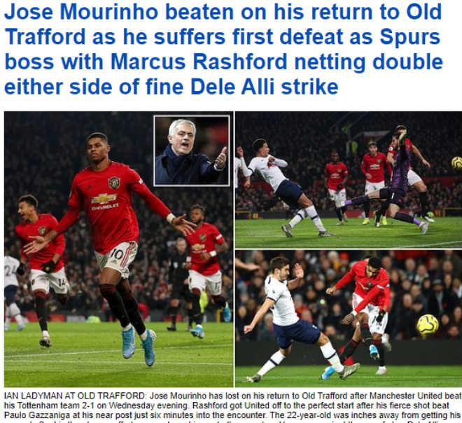 """MU """"lột xác"""" hạ gục Tottenham: Báo Anh kinh ngạc, chê Mourinho mờ nhạt - 3"""