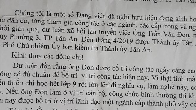 Phó chủ nhiệm Ủy ban Kiểm tra Thành ủy ở Long An không có bằng cấp 3