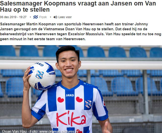"""Báo Hà Lan nói Văn Hậu vào sân nhờ """"cửa sau"""": HLV Heerenveen phản ứng thế nào? - 1"""