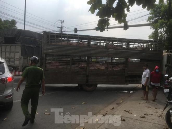 Xe chở 50 con heo tông vào nhà dân khiến quốc lộ 13 kẹt cứng 2km - 3