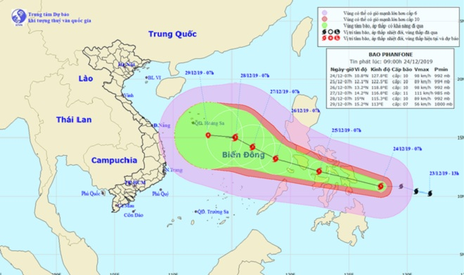 Bão Phanfone gió giật cấp 12 đang tăng tốc hướng vào Biển Đông - 1