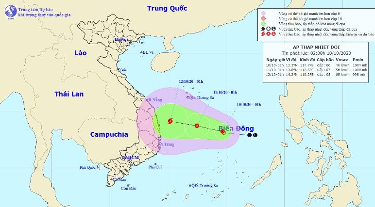 Áp thấp nhiệt đới khả năng mạnh thêm, hướng vào Bình Định – Khánh Hòa - 1