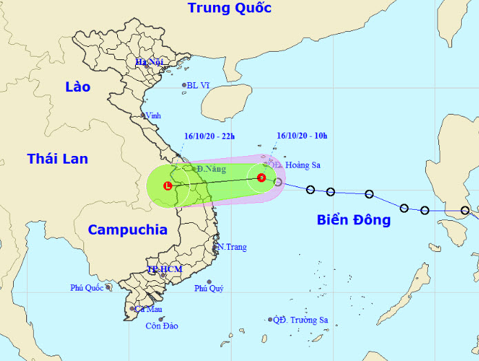 """Áp thấp nhiệt đới di chuyển """"thần tốc"""", đổ bộ vào miền Trung trong chiều tối nay (16/10) - 1"""