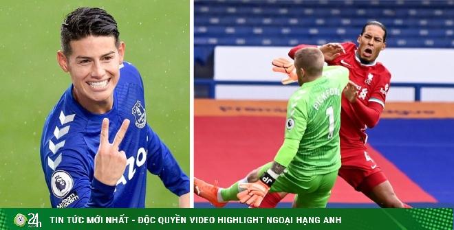 Everton mất James Rodriguez, Pickford hối hận vì triệt hạ Van Dijk