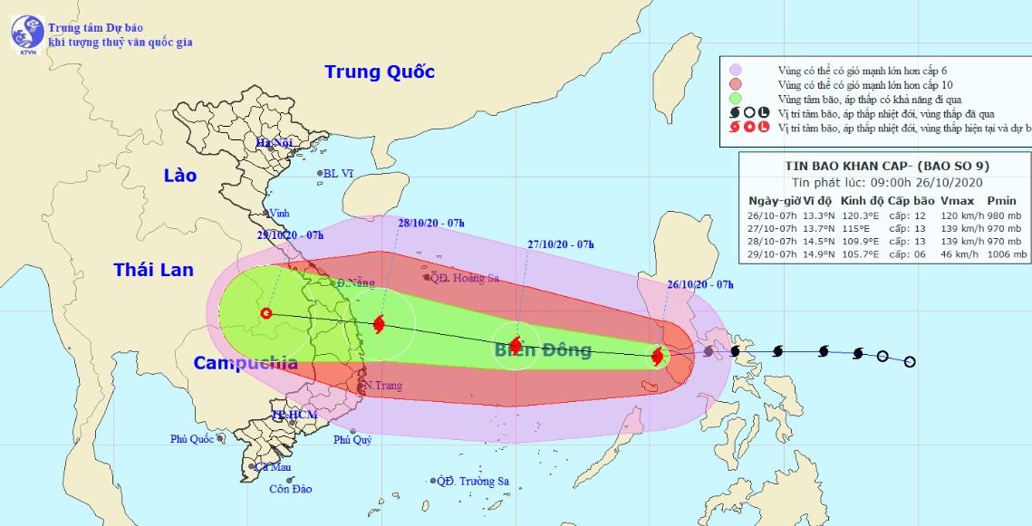 Bão số 9 giật cấp 14 đã vào Biển Đông, đang hướng về miền Trung