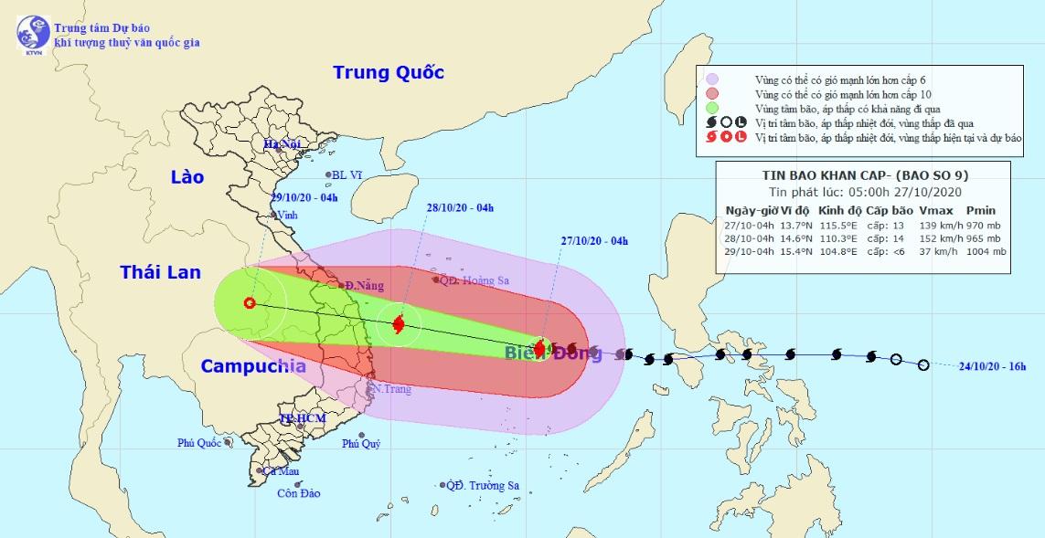 Thông tin mới nhất về bão số 9 cấp cuồng phong đang hướng vào Đà Nẵng – Phú Yên - 1