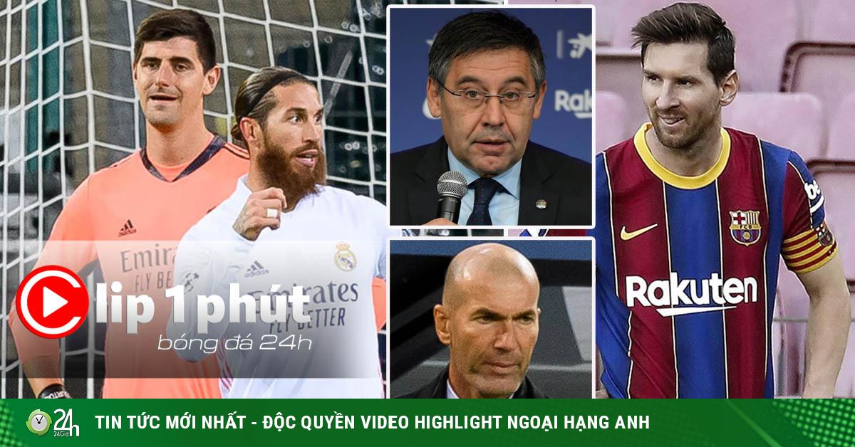 Barca - Real đại khủng hoảng: Messi hối hận, Zidane dễ bị bay ghế? (Clip 1 phút Bóng đá 24H)