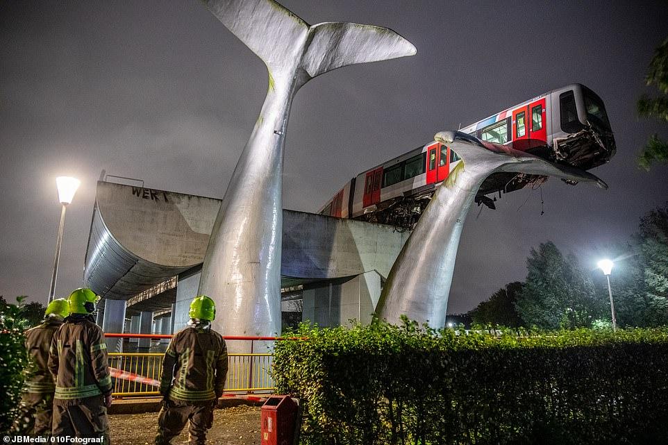 """Tàu điện trên cao lao đầu xuống đất, tượng đuôi cá voi """"thần kỳ"""" ngăn tai nạn thảm khốc - 1"""