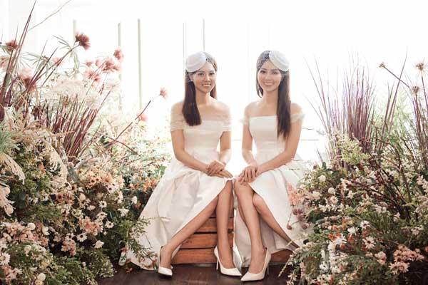 Á hậu Thụy Vân và bạn gái nghệ sĩ Công Lý lộng lẫy trong váy cưới - hình ảnh 1