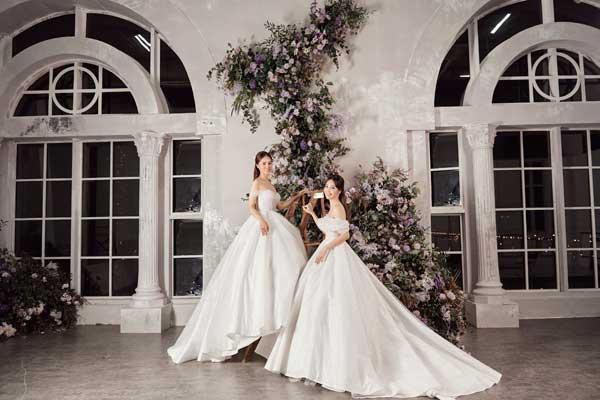 Á hậu Thụy Vân và bạn gái nghệ sĩ Công Lý lộng lẫy trong váy cưới - hình ảnh 4