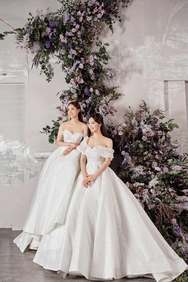 Á hậu Thụy Vân và bạn gái nghệ sĩ Công Lý lộng lẫy trong váy cưới - hình ảnh 5