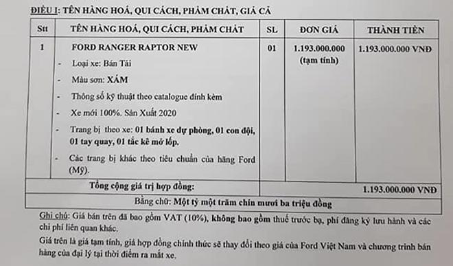 Đại lý nhận cọc Ford Ranger Raptor 2021, giá khoảng 1,193 tỷ đồng