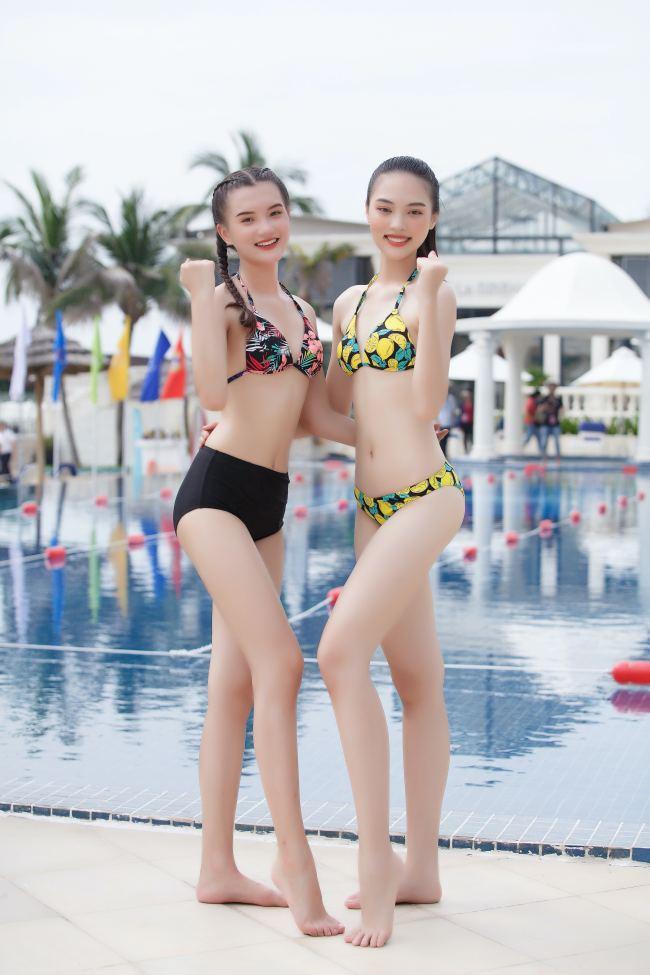 Thí sinh hoa hậu Việt Nam mặc váy siêu ngắn chống đẩy - hình ảnh 5