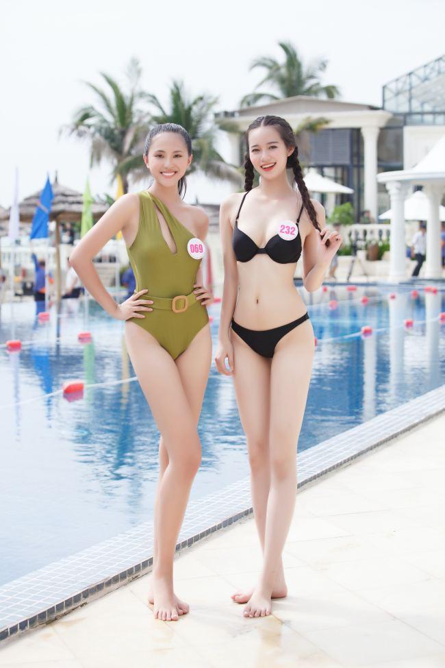 Thí sinh hoa hậu Việt Nam mặc váy siêu ngắn chống đẩy - hình ảnh 4