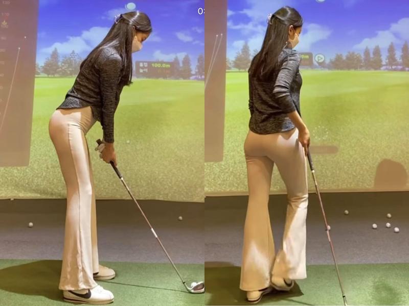 Cô gái gây sốt khi mặc quần nude chơi golf hóa ra là người mẫu có body hoàn mỹ - hình ảnh 1