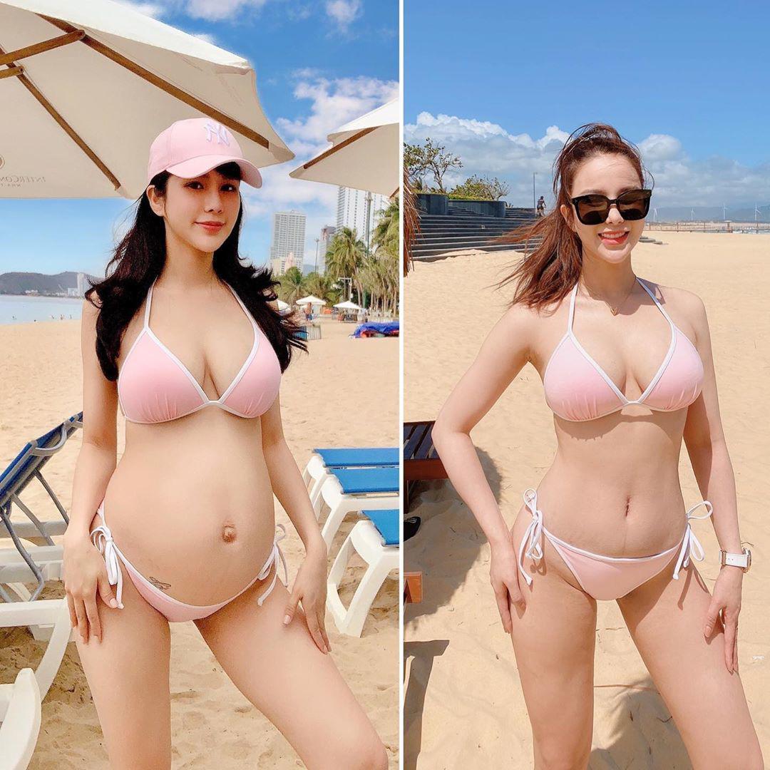 Diệp Lâm Anh mặc đồ bơi nhỏ trước mặt đồng nghiệp nam, bụng bèo nhèo đã biến mất - hình ảnh 3