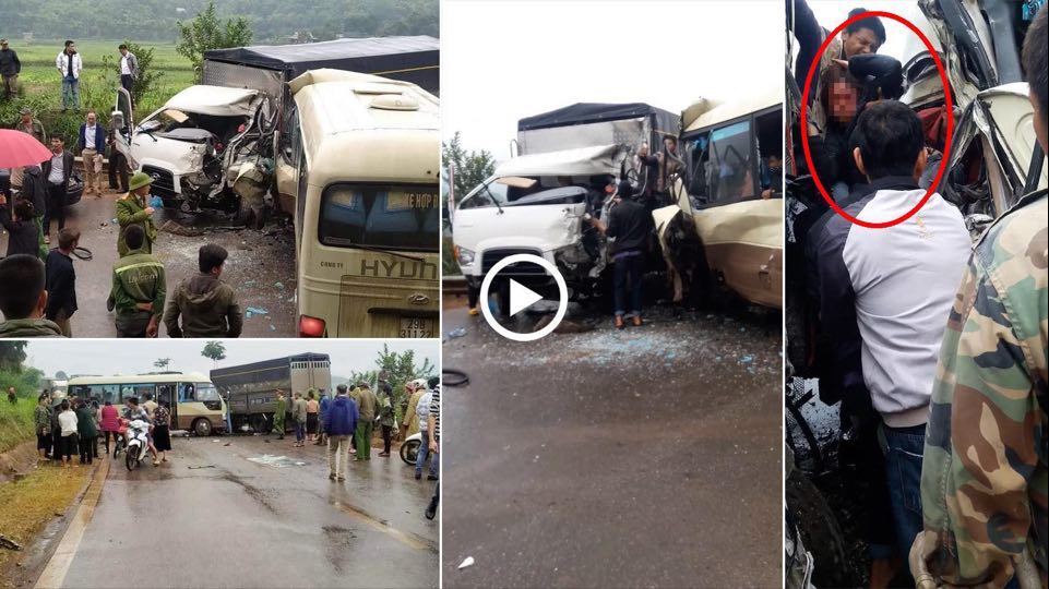 Clip: Ớn lạnh hiện trường vụ tai nạn giữa xe khách và ô tô tải ở chân đèo Chiềng Đông - hình ảnh 1