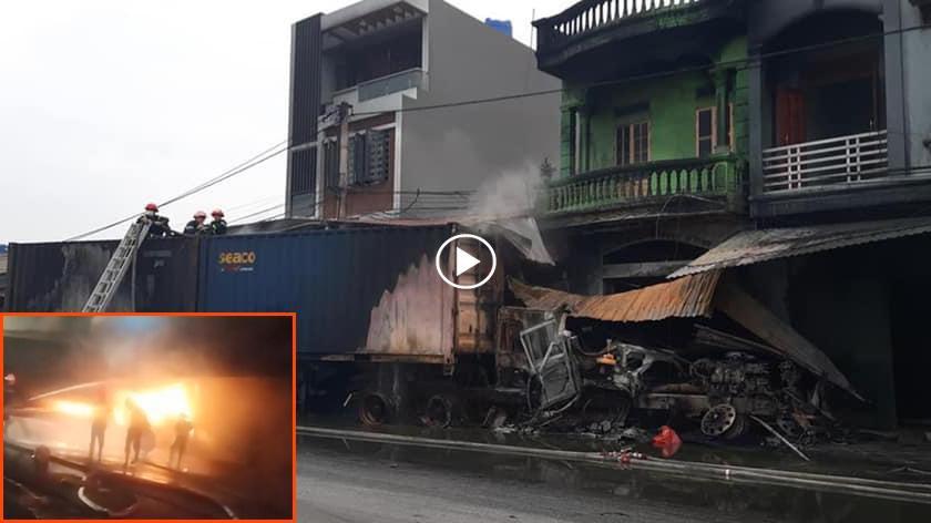 Kinh hoàng: 2 xe container va chạm khiến 3 nhà dân bốc cháy, tài xế tử vong - hình ảnh 1