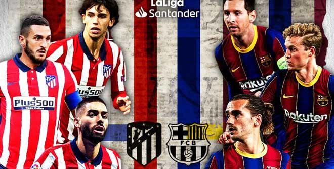Trực tiếp bóng đá Atletico Madrid - Barcelona: Lưới rung bất ngờ