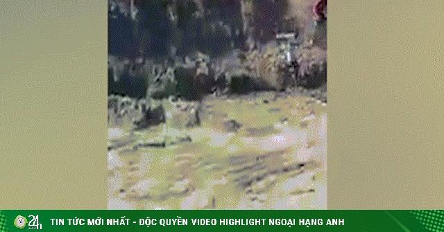 Video: Kinh hãi hổ lạc vào thị trấn, đuổi cắn người rơi xuống hố ở Ấn Độ