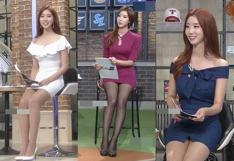 """""""Bông hoa MC thể thao"""" xứ Hàn ngồi như sắp rơi khỏi ghế vì tránh hớ hênh với váy ngắn - 2"""