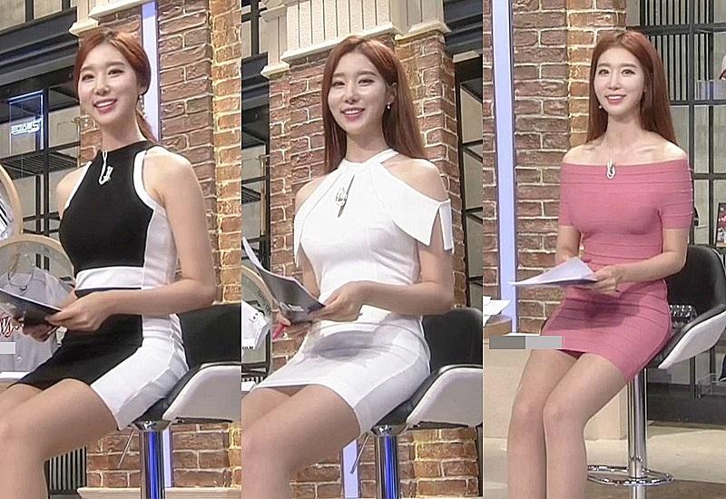 """""""Bông hoa MC thể thao"""" xứ Hàn ngồi như sắp rơi khỏi ghế vì tránh hớ hênh với váy ngắn - 1"""