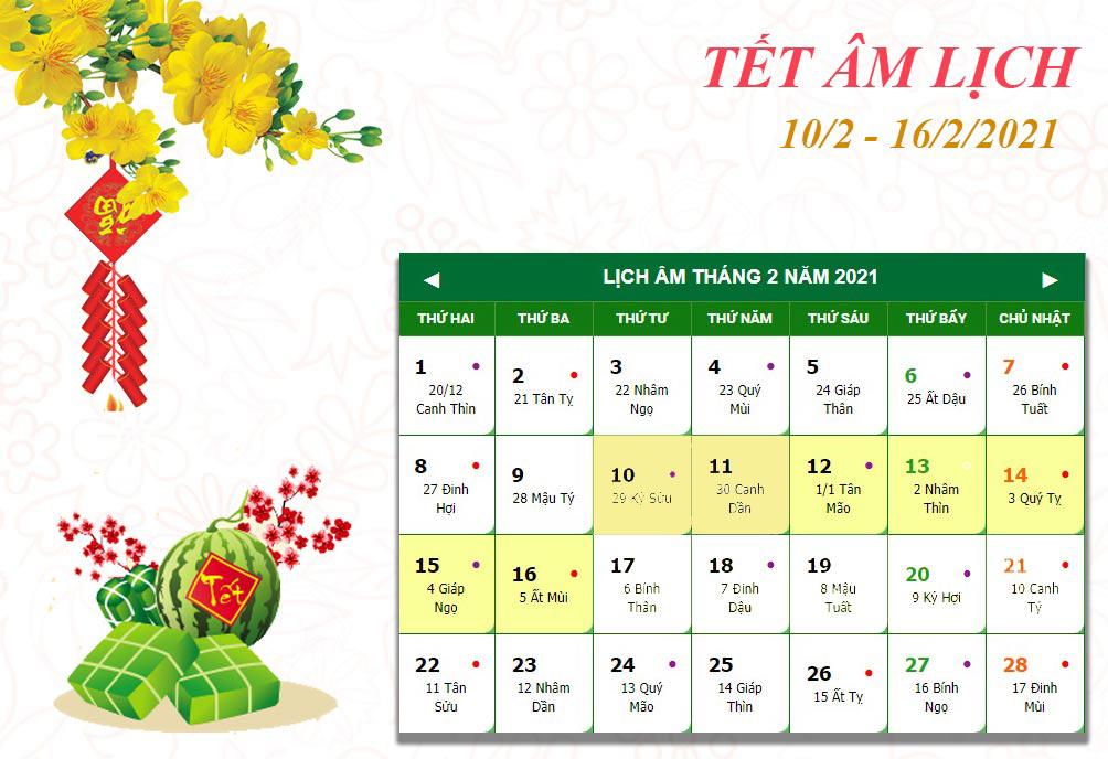 Lịch nghỉ chi tiết các ngày lễ, Tết trong năm 2021 - hình ảnh 2