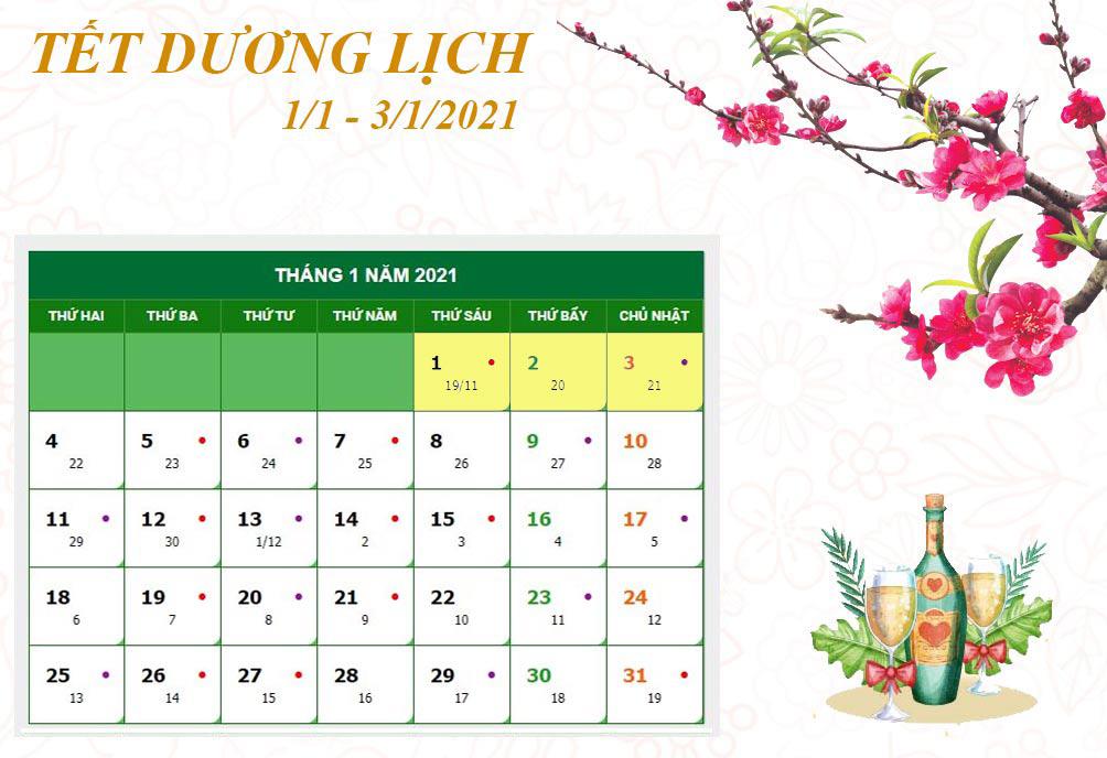 Lịch nghỉ chi tiết các ngày lễ, Tết trong năm 2021 - hình ảnh 1